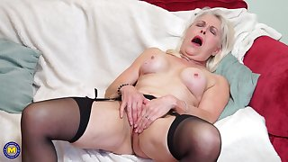 Mature amateur blonde granny Lady Sextasy strips coupled with fingers herself