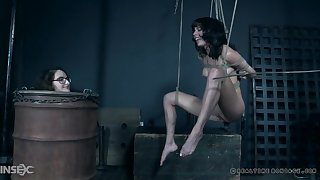 Pretty girl in a cablegram enslavement suspension gets the brush pussy vibrated