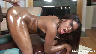 Oiled up inky beauty loves to get fucked