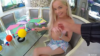 Flat chested circumference beauteous cowgirl Elsa Jean wanna ride strong cock