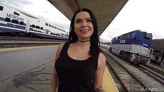 Horny murk babe Trina Beat up sucks and rides cock on a train