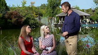 Rocco Siffredi fucks two sexually compulsive ungentlemanly with an increment of cums on their faces