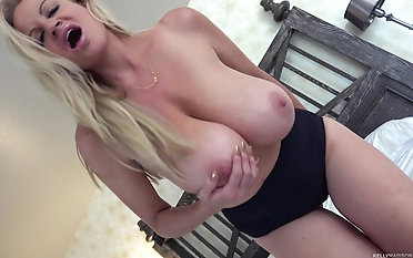 Kelly Madison gets naked be useful to a solo game with a vibrator