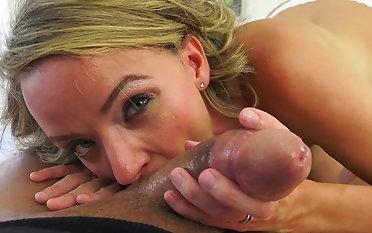 POv cock sucking mom won's stop until a catch last drop