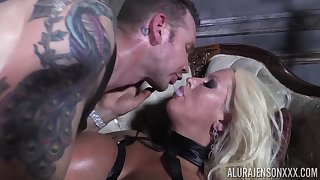 He makes his slave Alura Jenson swallow his warm sperm