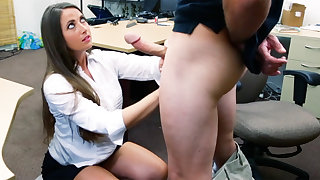 Shoplifter brunette gets fucked less the back be advisable for a pawn shop