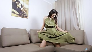 Leave flat and sultry leggy cutie Isha loves tenderly almost masturbate her wet pussy