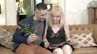 Nasty granny Nanney is having sex fun with hot blooded young lover