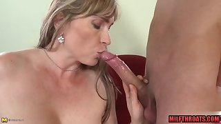 Hairy mommy fellatio and jizz on melons
