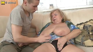 Elderly busty grandma fucked by young boy