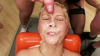 her first avant-garde anal bukkake party