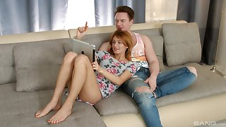 Redhead amateur MILF Esperanse pussy licked before riding dick