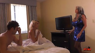Insatiable blond bit of San Quentin quail and her naughty pals are having a threeway, in a motel apartment