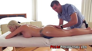 All lubed appetizing bosomy looker Lexxxy Looker is poked from behind by masseur