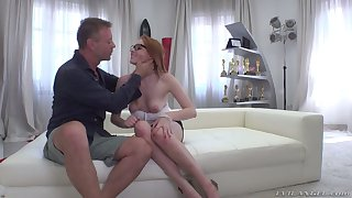 Nerdy redhead with natural boobies Candy Red is brutally fucked by Rocco