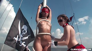 Karen J and her hot friends masturbate pile up on rub-down the sailboat