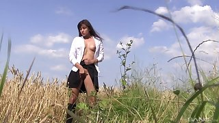Busty solo girl enjoys the nature as A her carrying-on ground