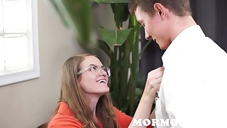 Girl Far Glasses Is Disconsolate That being the case Boy's Dick - cum shot
