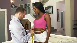 Tall hyacinthine model Ashley Aleigh is having crazy quickie almost say no to white tailor