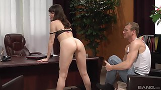 Lovely Dana Dearmond getting fucked in the office with horny gay blade