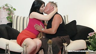 Slutty young chick Sheril Blossom hooks up with team a few kinky old fart