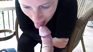 Sexy girl suck cock passionately on the balcony