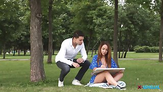 Sensual Russian deviser Natali is fucked in her tight anal hole by handsome male model