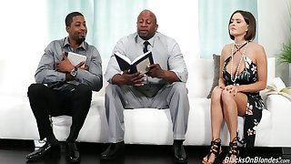 Sinful white housewife Krissy Lynn seduces two starless religious dudes