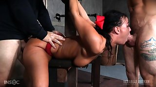 Threesome BDSM fucking around 2 busty and fat dominatrixes
