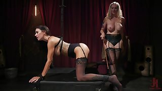 Full domination in lesbian BDSM for Julia Ann with an increment of Gia Dimarco