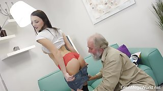 Old bearded dude fucks charming brunette tot with yummy pussy Katy Rose