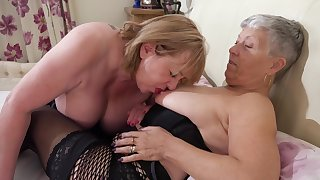 Chubby grannies wearing stockings dealings on the bed