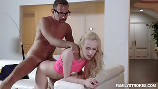 Impersonate daddy deep fucks her tiny pussy then cums out of reach of her tits