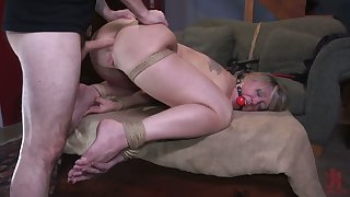 Chubby racked gagged whore Dee Williams deserves holes fucked doggy hard
