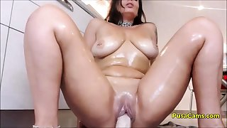 OH MADE MY STEP MOM RIDE DILDO Roughly Kitchenette on CAM