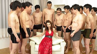 Nagisa Kazami down Nagisa Kazami is fucked unconnected with so many cocks down a gangbang - AvidolZ
