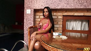 Smoking hot tanned nympho Grazie Cinturini loves smoking and posing yon lingerie