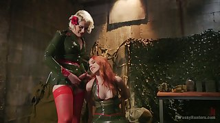 Smoking hot red head Amarna Miller is fucked by horny shemale in military uniform