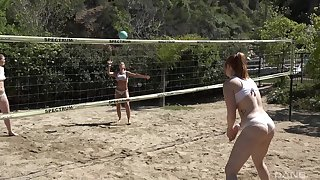 Group be fitting of friends playing volleyball decided alongside have massive orgy after