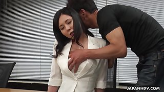 Workaholic Miyuki Ojima flashes her prudish pussy increased by gets teased right away