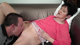 Granny feels young nephew's Hawkshaw stimulating her in pleasant modes