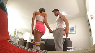 Slender ebony stepsister Alexis Tae is fucked and creampied on high a airless camera