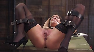 Cute girl Kacie Citadel in stockings fucked conscientious and soreness while tied up