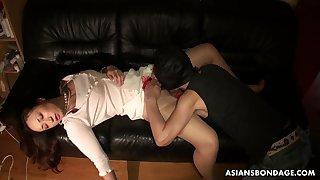 Boyfriend licks added to fucks pussy of sleeping steady old-fashioned Ayumi Wakana