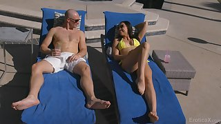 Hot blooded babe Aidra Fox is craving for crazy coitus fun with bald headed gay blade