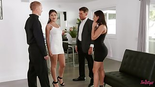 Busty Luna Star teases Asian Kenda Spade and a difficulty take a crack at sex on a sofa