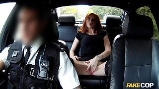 Redhead gets banged by the cops on the way to jail