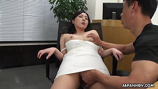 A beautiful HR clerk interviews a pauper unsystematically gives him full access to will not hear of pussy