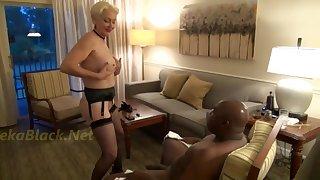 Sizzling GILF seduces big black guy