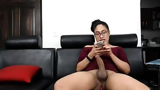 Coloured latin shemale with huge cock jerking off chiefly webcam